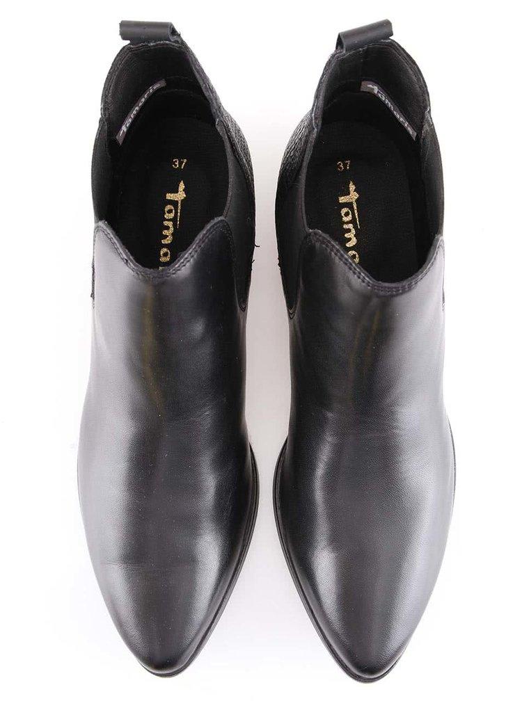 Čierne členkové topánky s hadím vzorom Tamaris