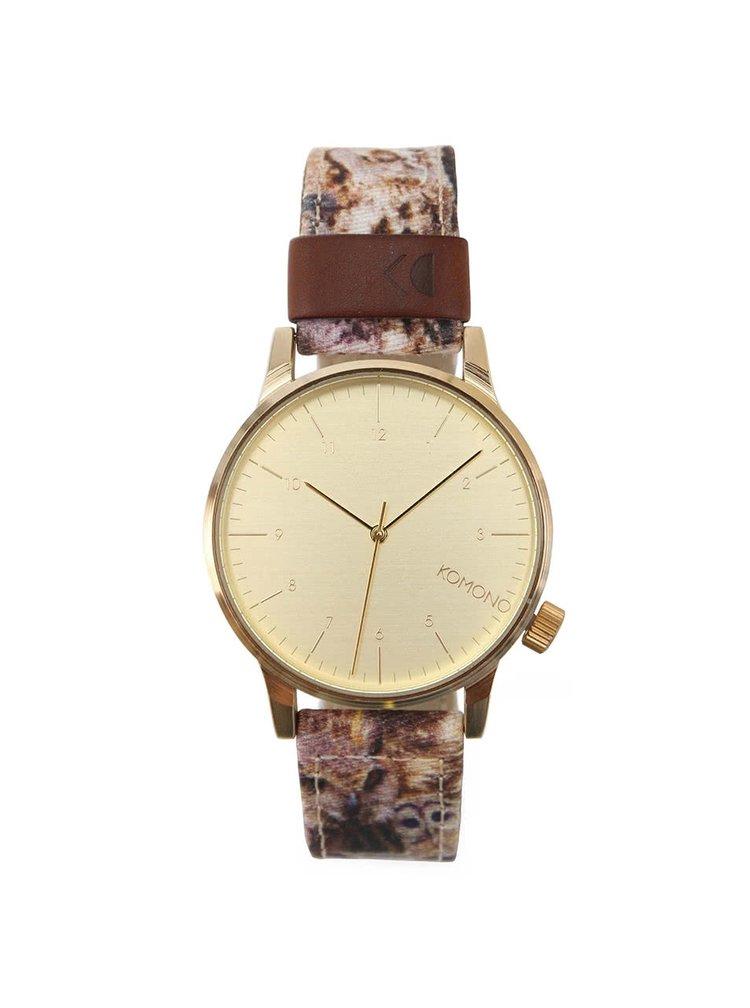 Pánské hodinky ve zlaté barvě s hnědým vzorovaným textilním páskem Komono Winston Print Owls