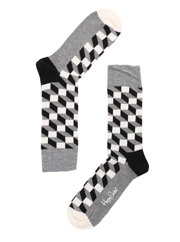 Černo-bílo-šedé unisex ponožky Happy Socks Filled Optic