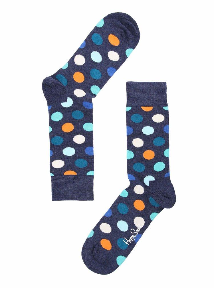 Modré unisex ponožky s barevnými puntíky Happy Socks Big Dots