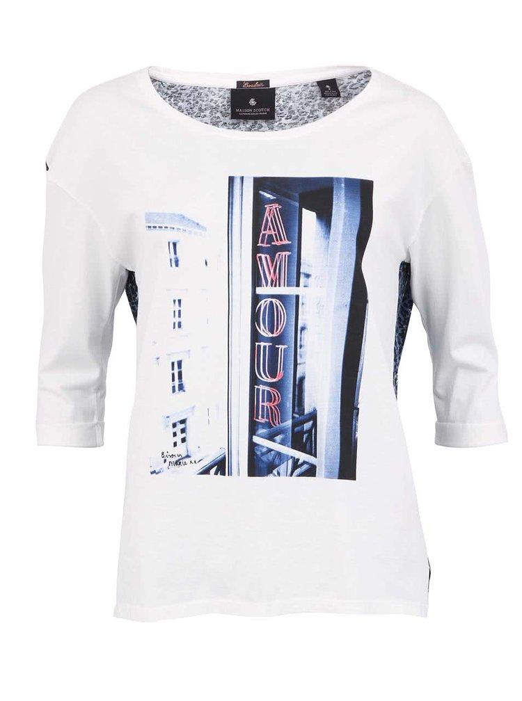 Tricou Romantic Maison Scotch - alb cu spate imprimat