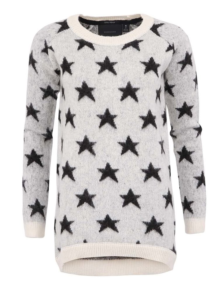 Černo-bílý mohérový svetr s hvězdami Maison Scotch