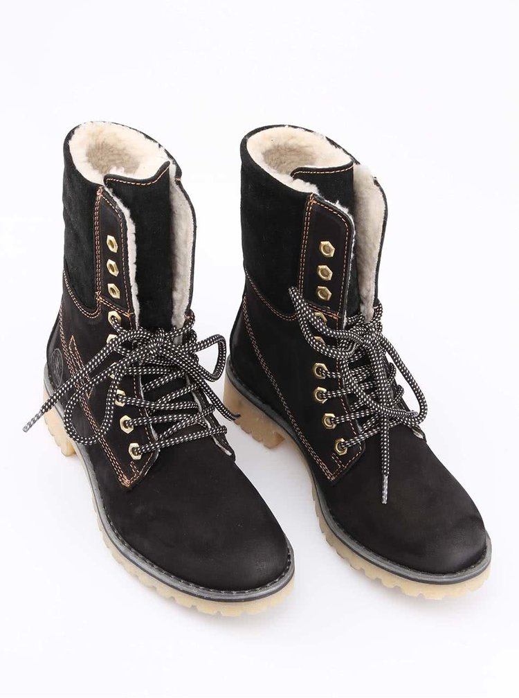 Čierne zimné kožené topánky s kožúškom Tamaris