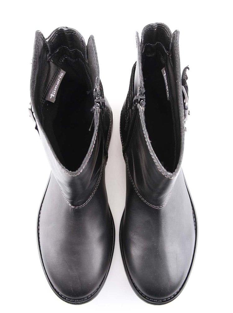 Čierne kožené topánky s prackami Tamaris