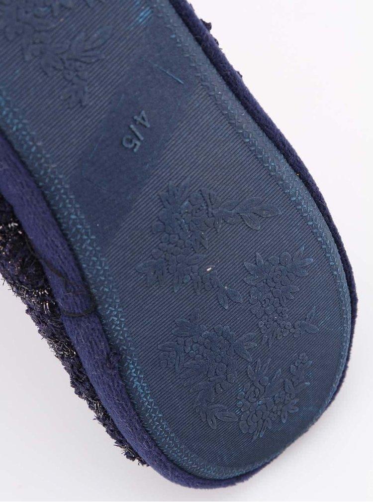 Tmavě modré třpytivé pletené bačkory s mašlí Something Special by Moon