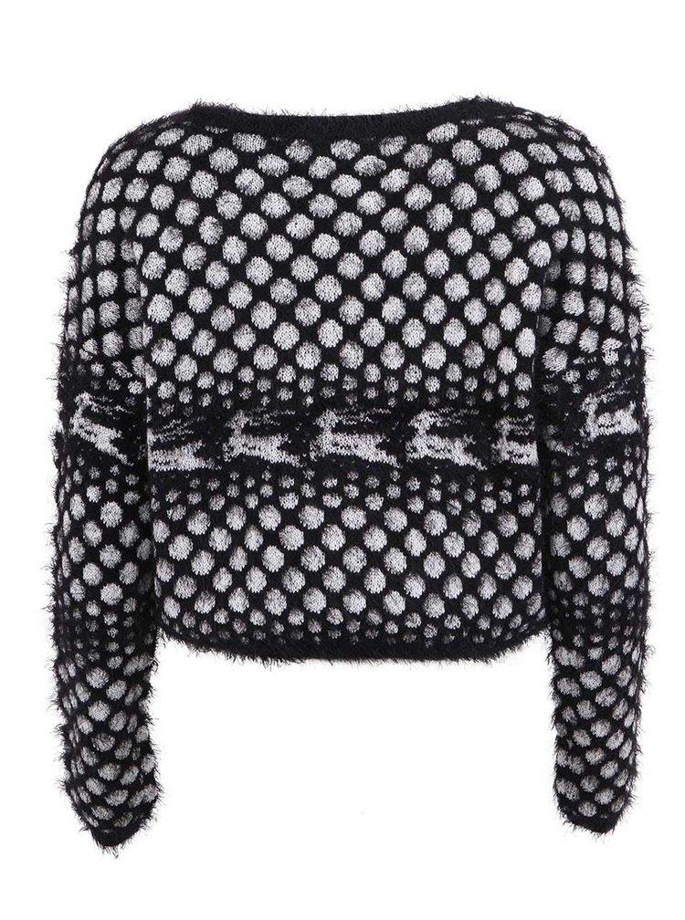 Čierny kratší sveter s jeleňmi VERO MODA