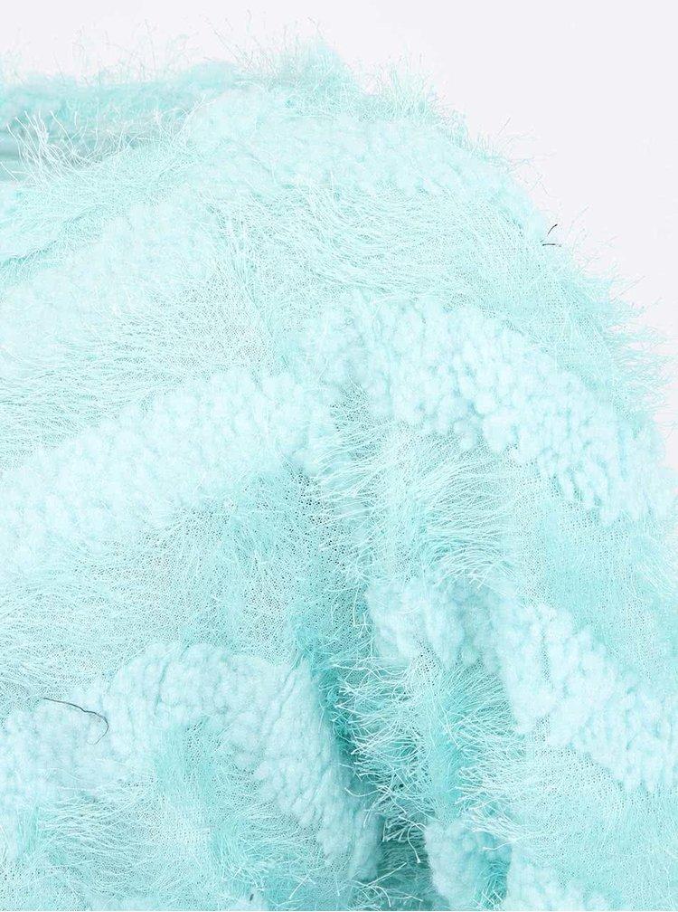 Mentolový chlupatý svetr VERO MODA Hairy