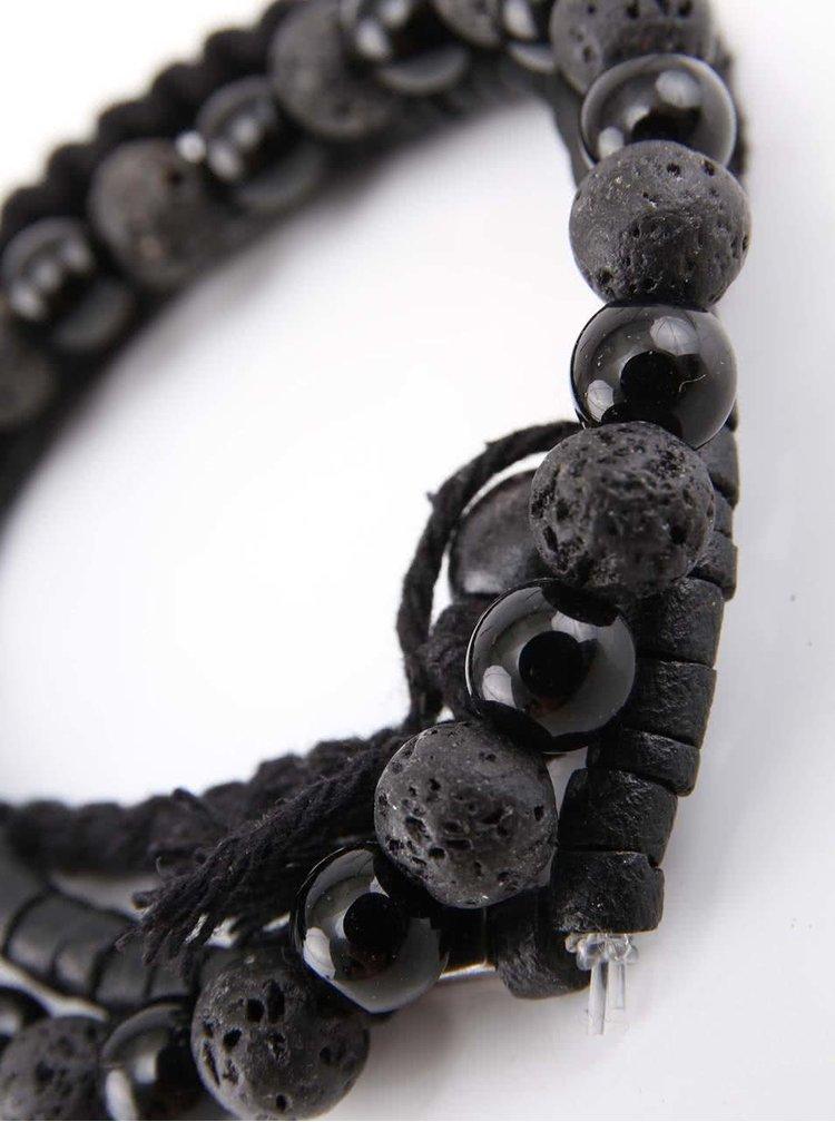 Čierny pánsky náramok so zliatinou zinku Lucleon Black on Black