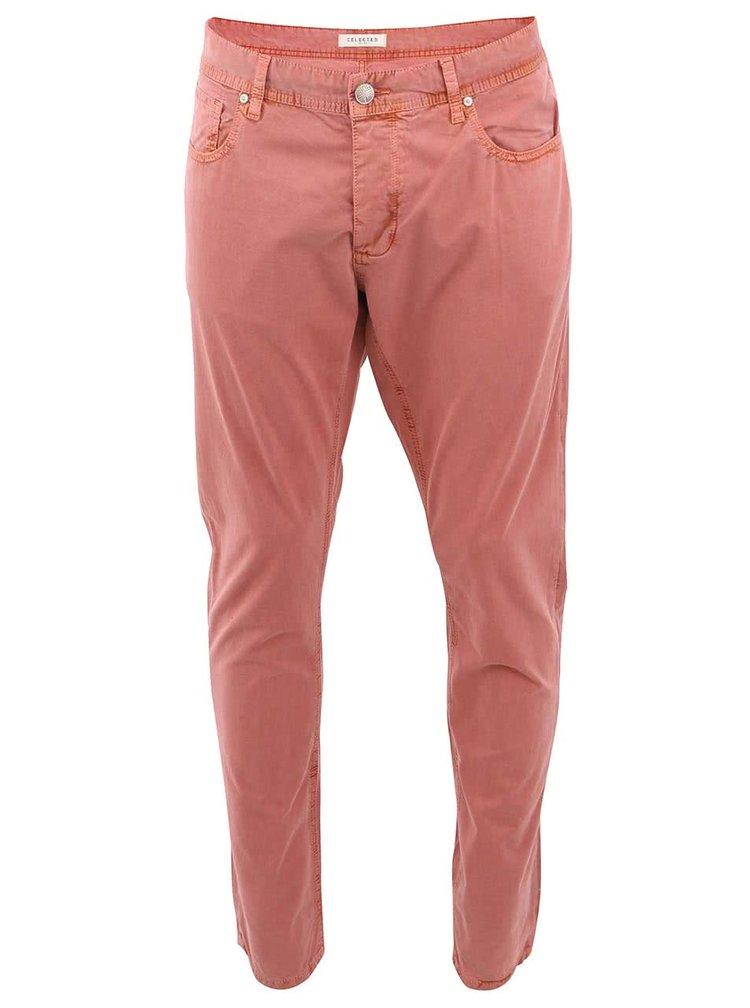 Oranžovo-ružové skinny nohavice Selected Two Rio