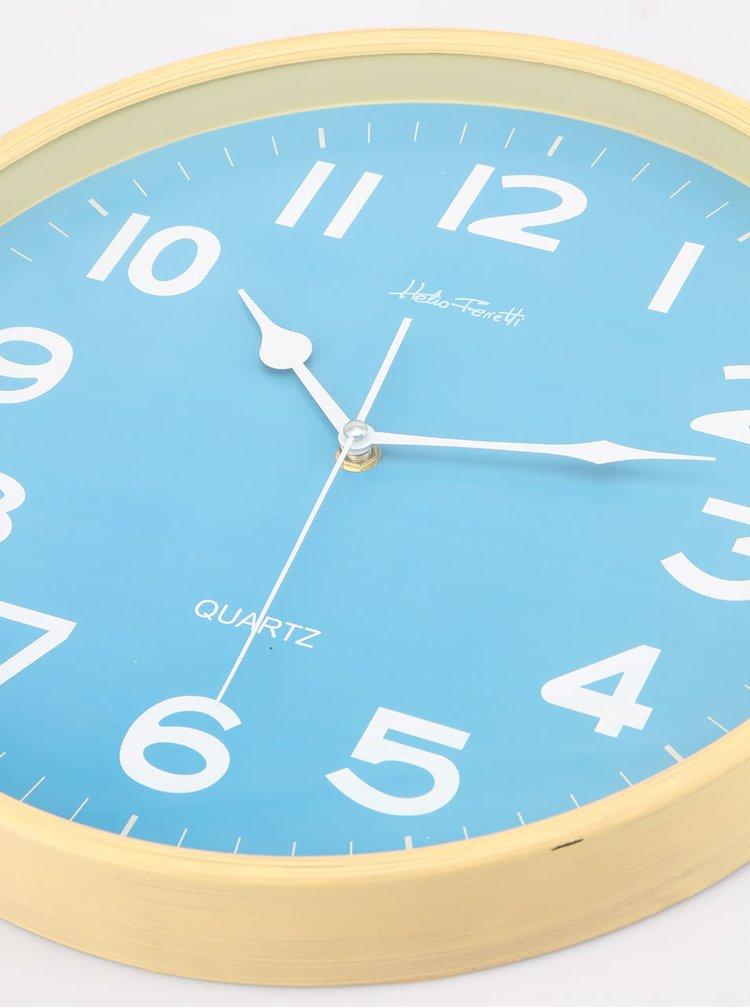 Modré nástěnné hodiny Helio Ferretti Globe