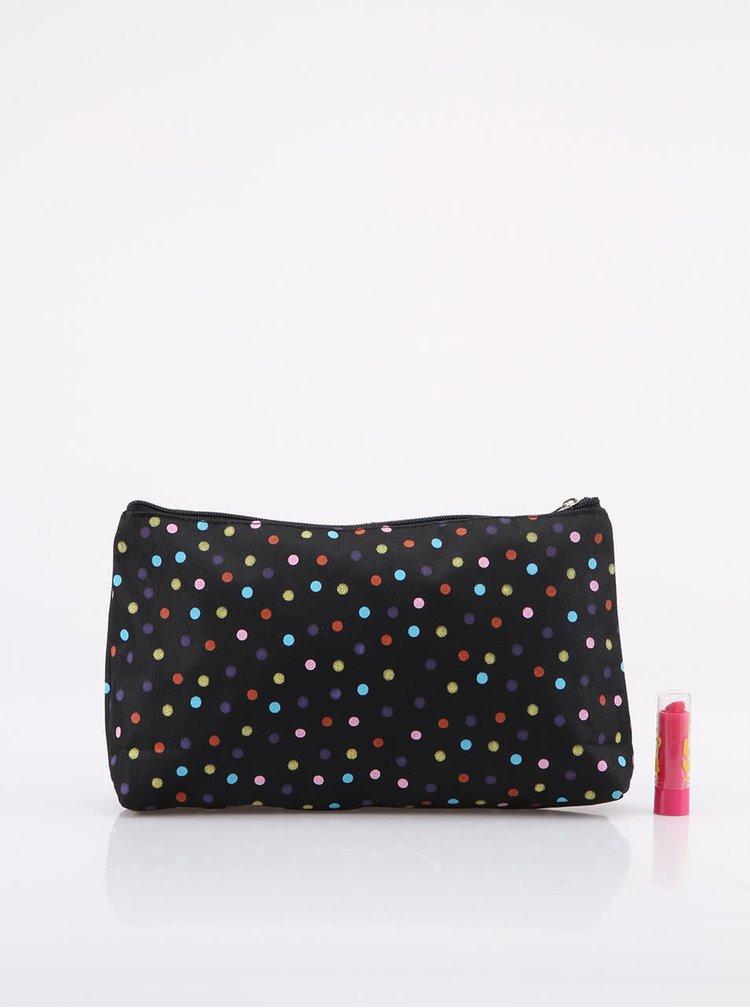 Geanta pentru cosmetice cu buline colorate Helio Ferretti - Negru