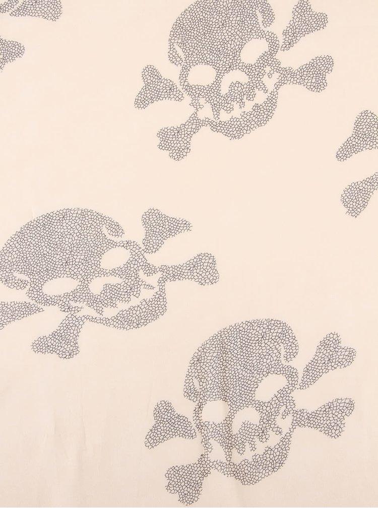 Béžový šátek s potiskem lebek Gionni