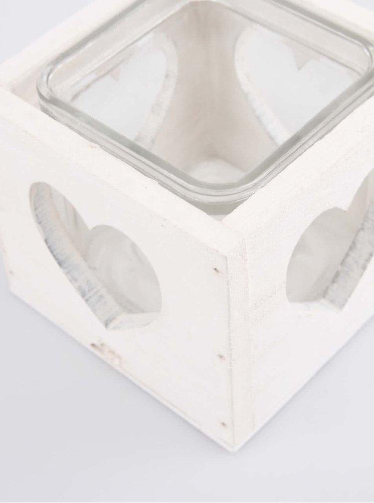 Suport de lumânări alb cu decupaje în formă de inimă de la Dakls