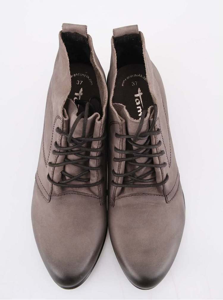 Šedé kožené kotníkové boty na podpatku Tamaris