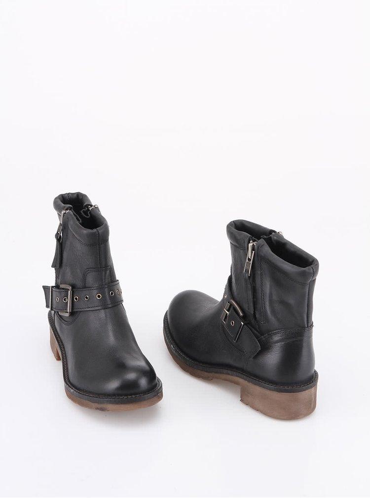 Čierne kožené členkové topánky s remienkom London Rebel Vinny