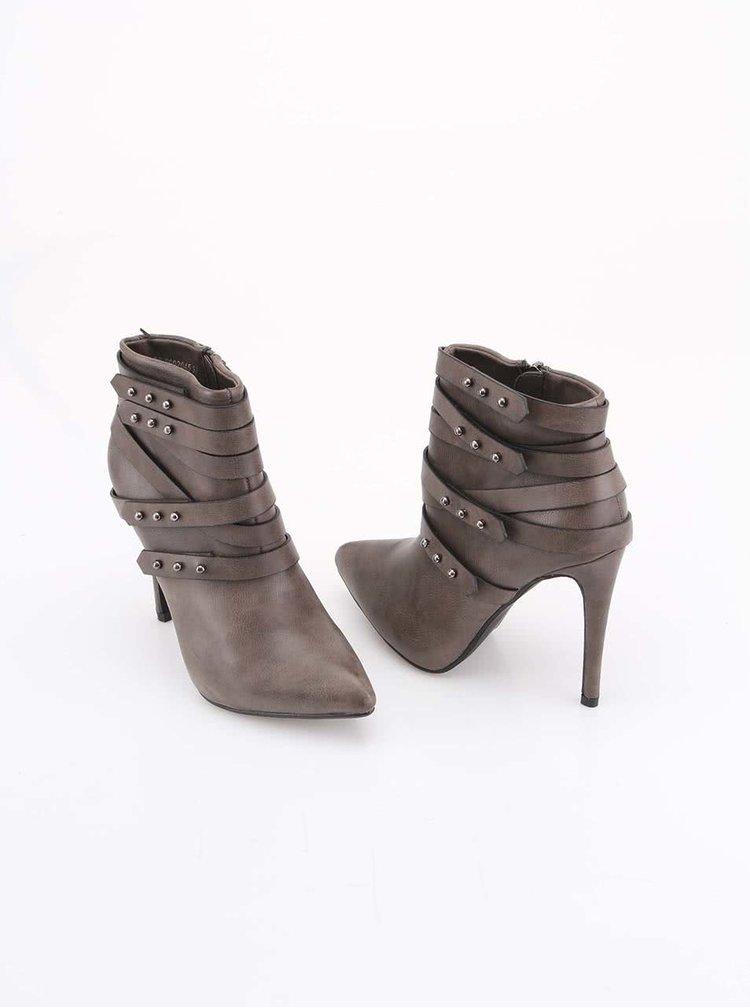 Béžové kotníkové boty na vysokém podpatku VERDE