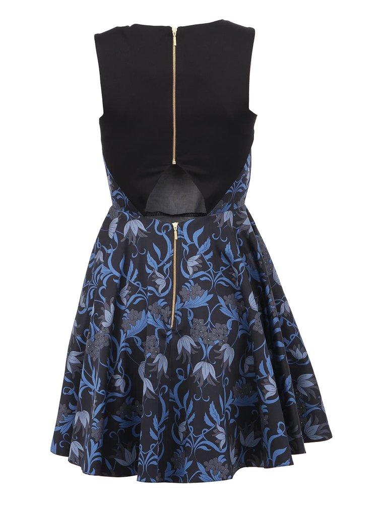 Tmavě modré šaty s barevnými květy Closet