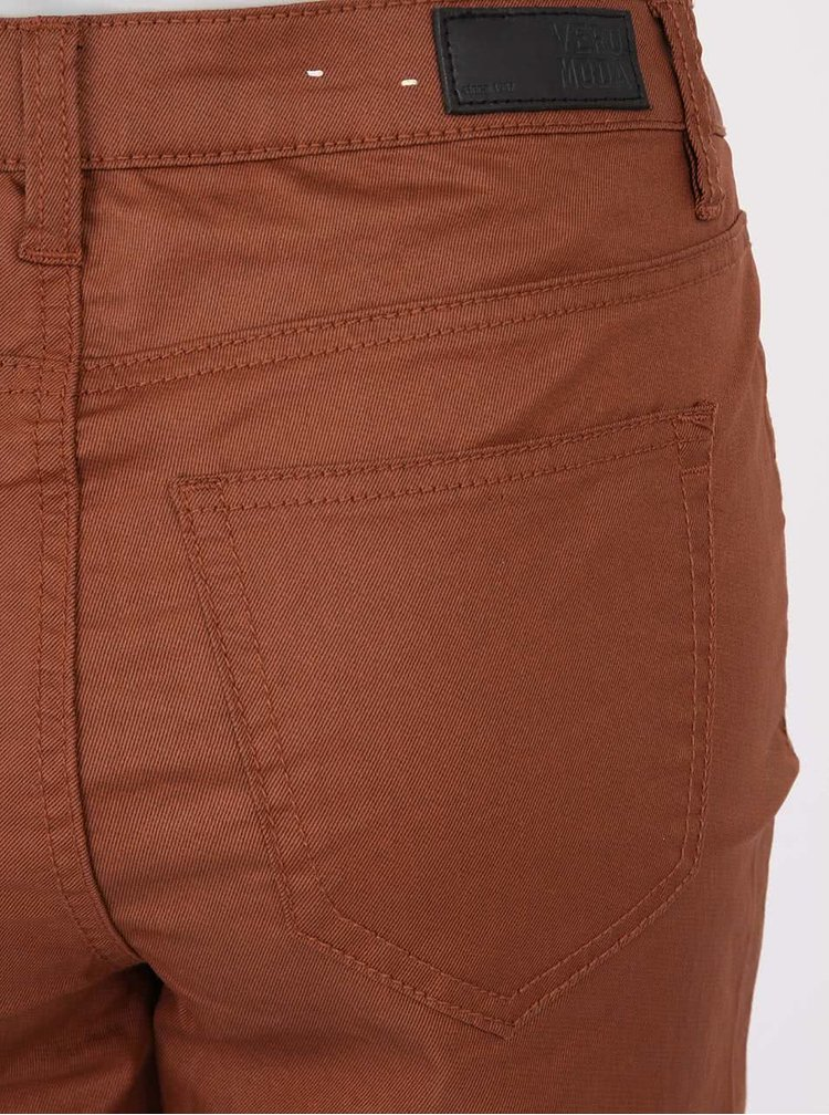 Hnedé nohavice s koženkovým efektom VERO MODA Wonder