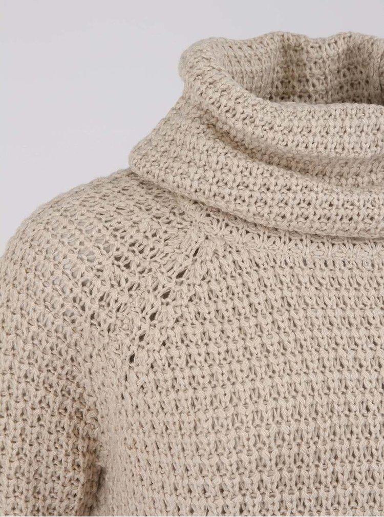 Béžový delší svetr s rolákem ONLY Tullalu