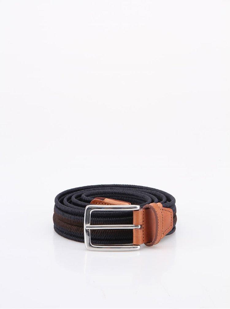 Hnědo-modrý pásek s koženými detaily Selected Curt
