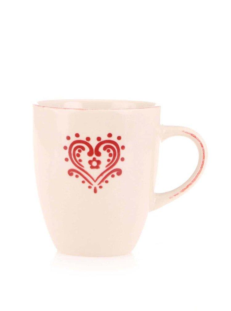 Ceașcă Dakls de culoare crem cu inimă roșie