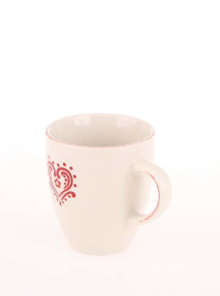 Krémový hrnček s červeným srdiečkom Dakls