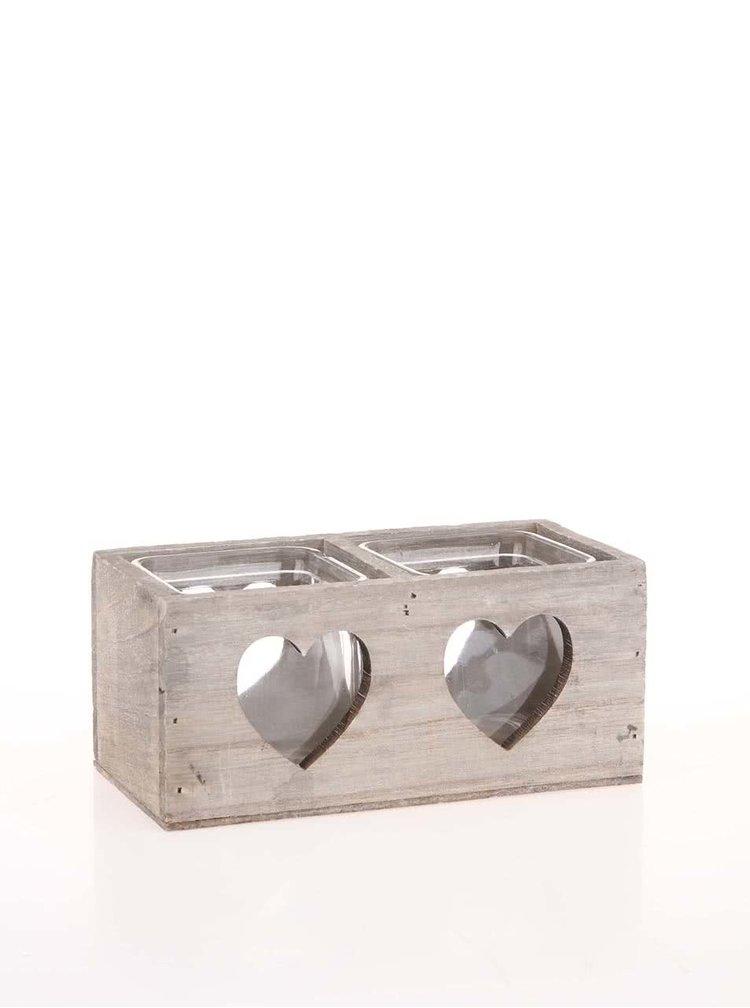 Dvojitý drevený svietnik s vyrezanými srdcami Dakls