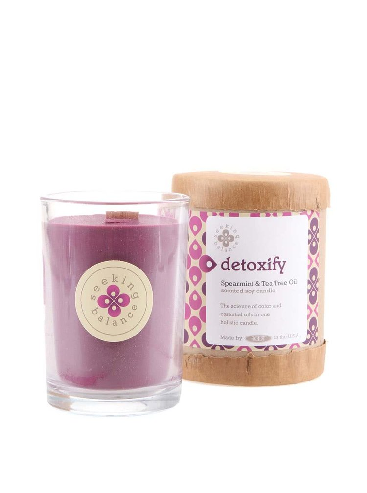Fialová vonná svíčka Root Candles Spearmint & Tea Tree Oil - Detoxify