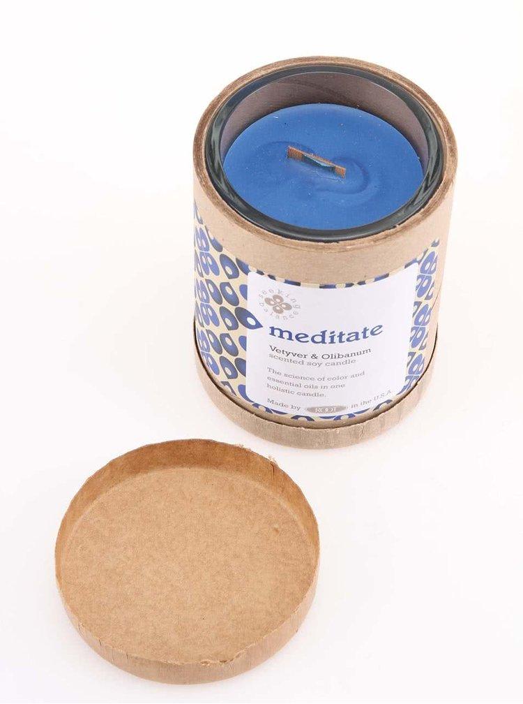 Tmavě modrá vonná svíčka Root Candles Vetyver & Olibanum - Meditate