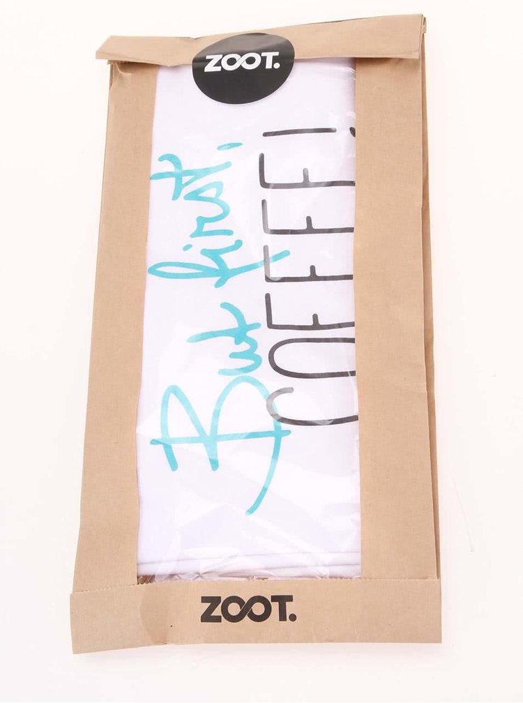 Biele dámske tričko ZOOT Original But firts, coffee
