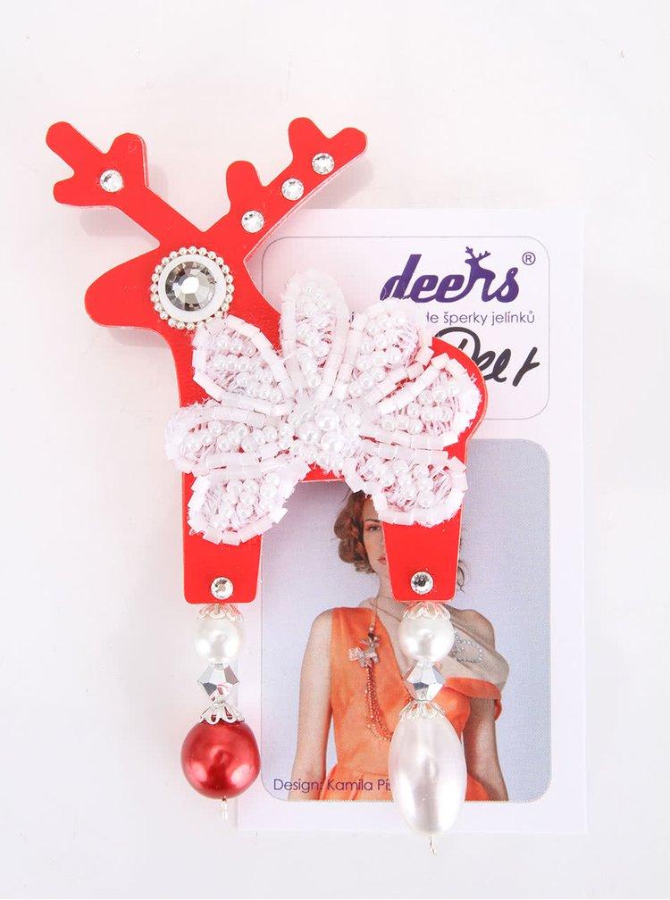 Červená velká brož s vločkou Deers Santa Deer