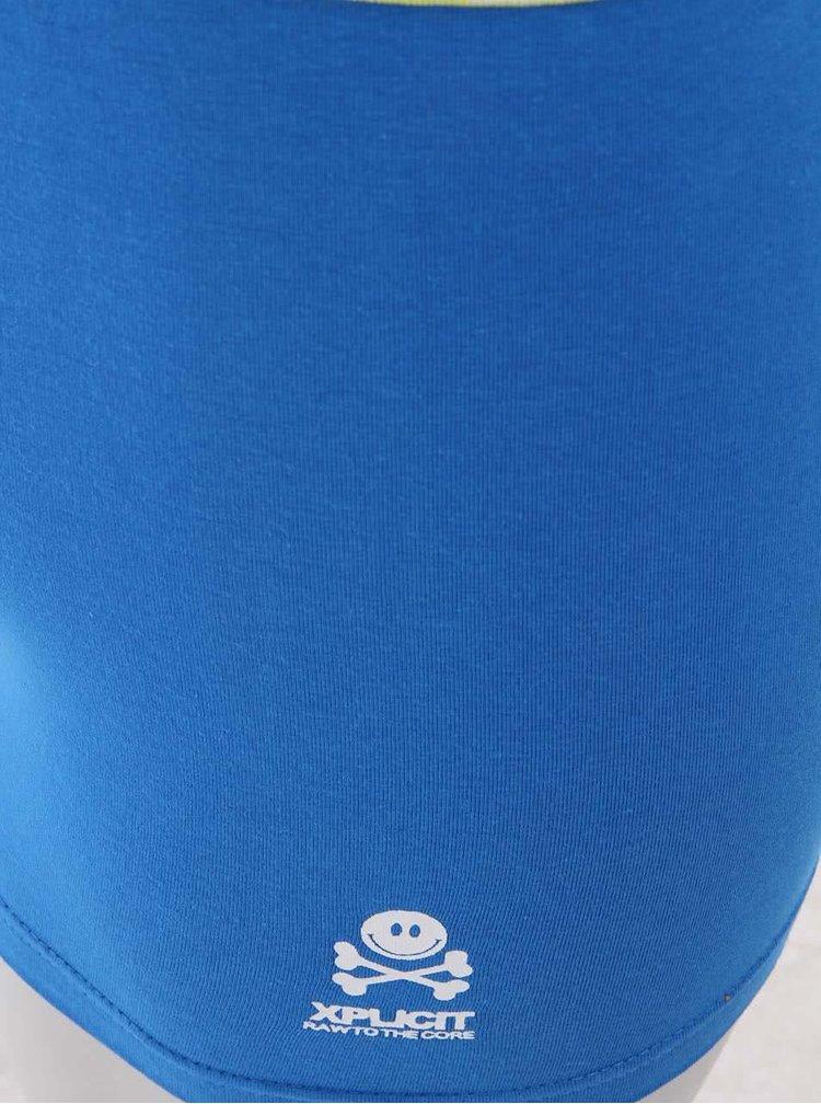 Zeleno-modré pánske boxerky s nápisom Xplicit Swell