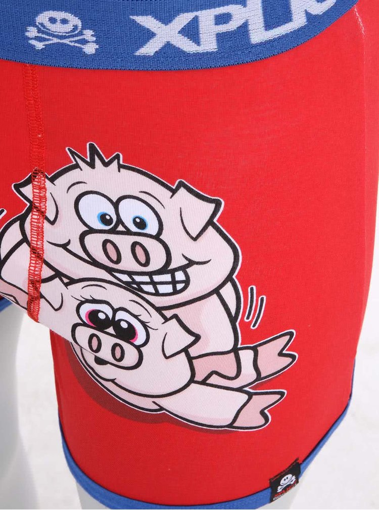 Modro-červené pánské boxerky s potiskem Xplicit Porky