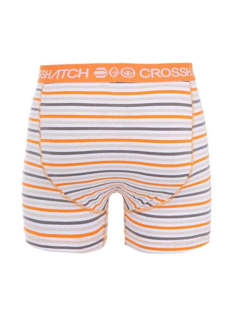 Oranžovo-šedé pruhované boxerky Crosshatch Plasma