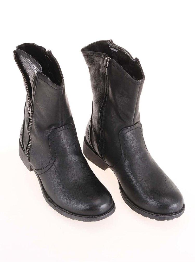 Černé vyšší kotníkové boty se zipem Mariamare