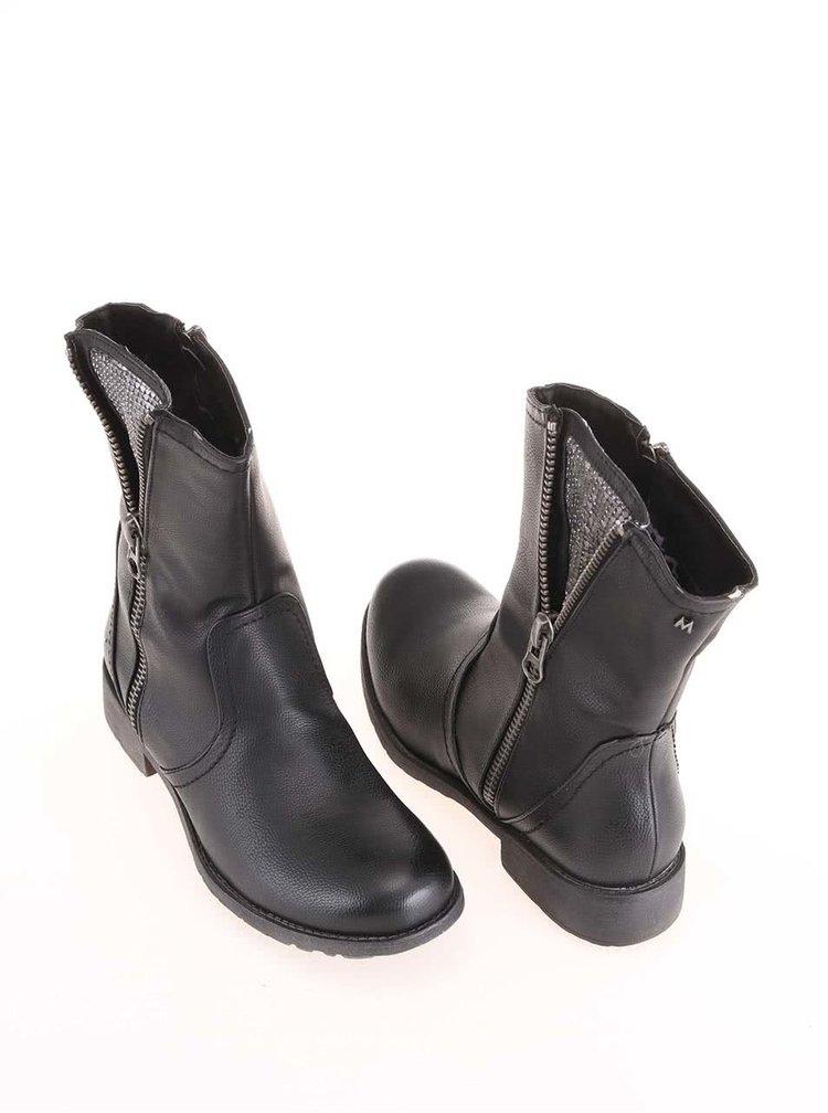 Čierne vyššie členkové topánky so zipsom Mariamare