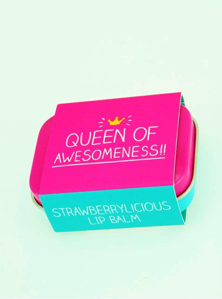Balzam na pery s vôňou jahôd vo farebnej krabičke Happy Jackson Queen of Awesomeness