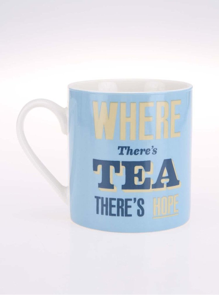 Cană albastră de la Home Front, inscripționată pe partea din față - Where There's Tea