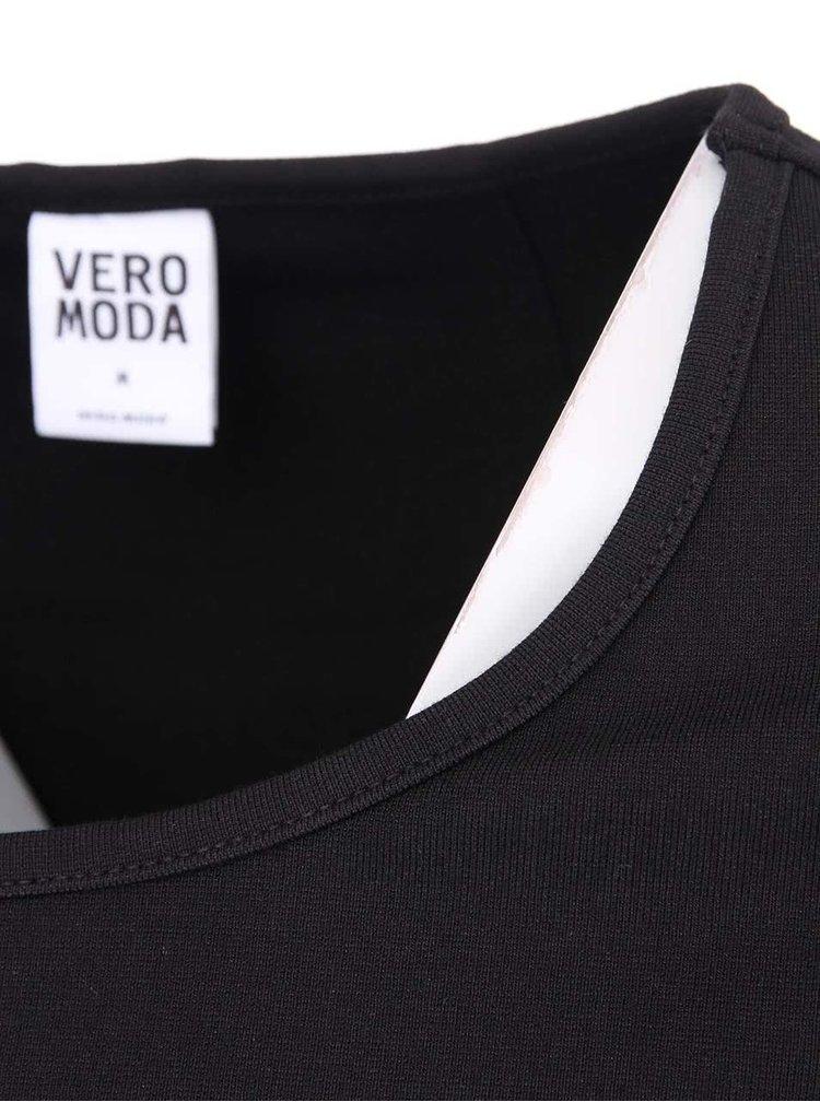 Čierny top s priestrihom na chrbáte VERO MODA Charity