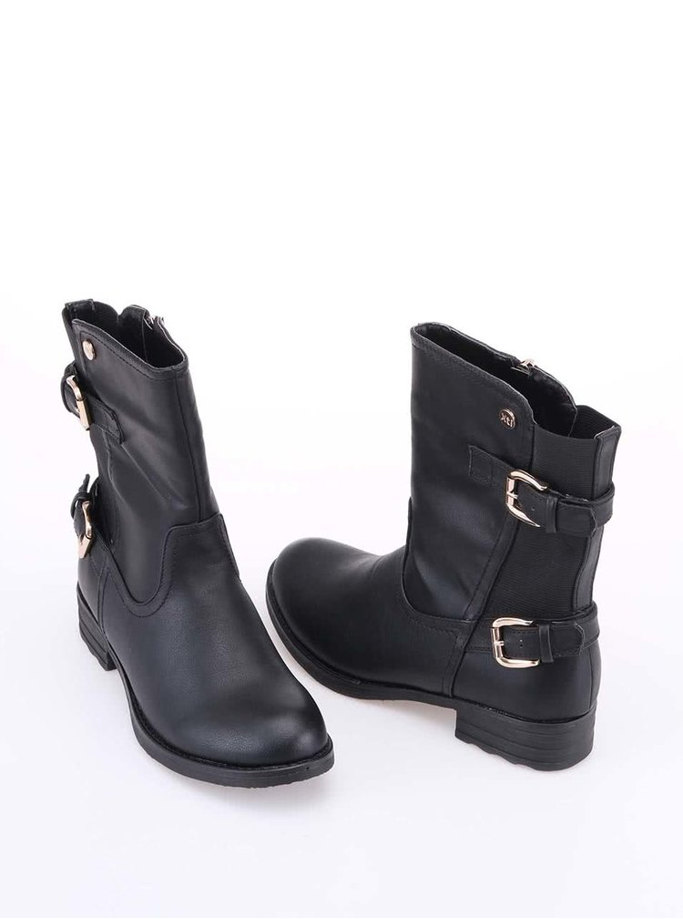 Černé vyšší kotníkové boty s přezkami Xti