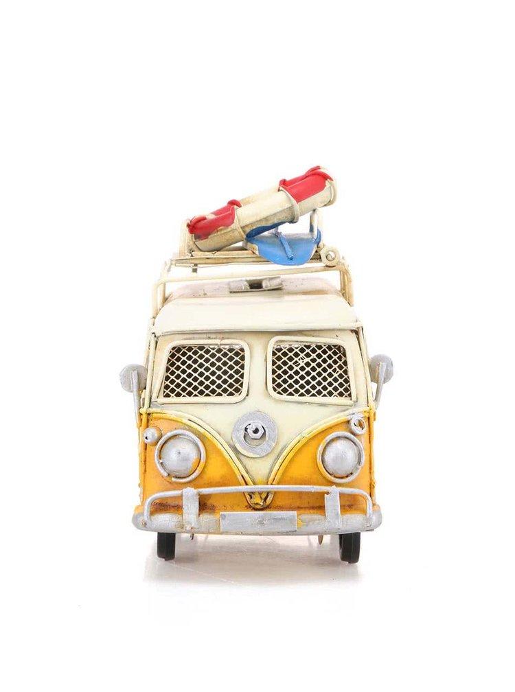 Žltá plechová pokladnička s fotorámikom Dakls Bus