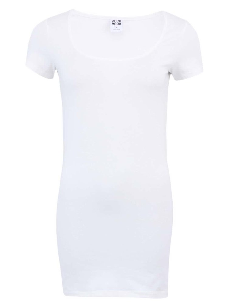 Biele dlhšie tričko VERO MODA Maxi My