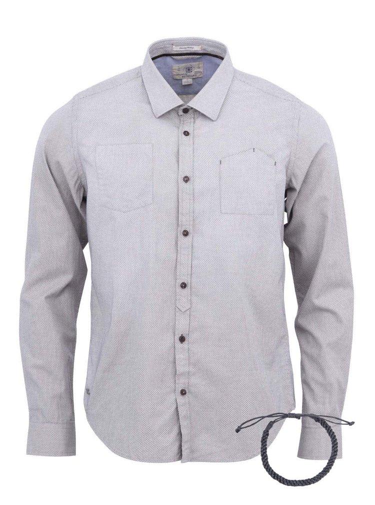Šedá vzorovaná neformální košile s náramkem Dstrezzed