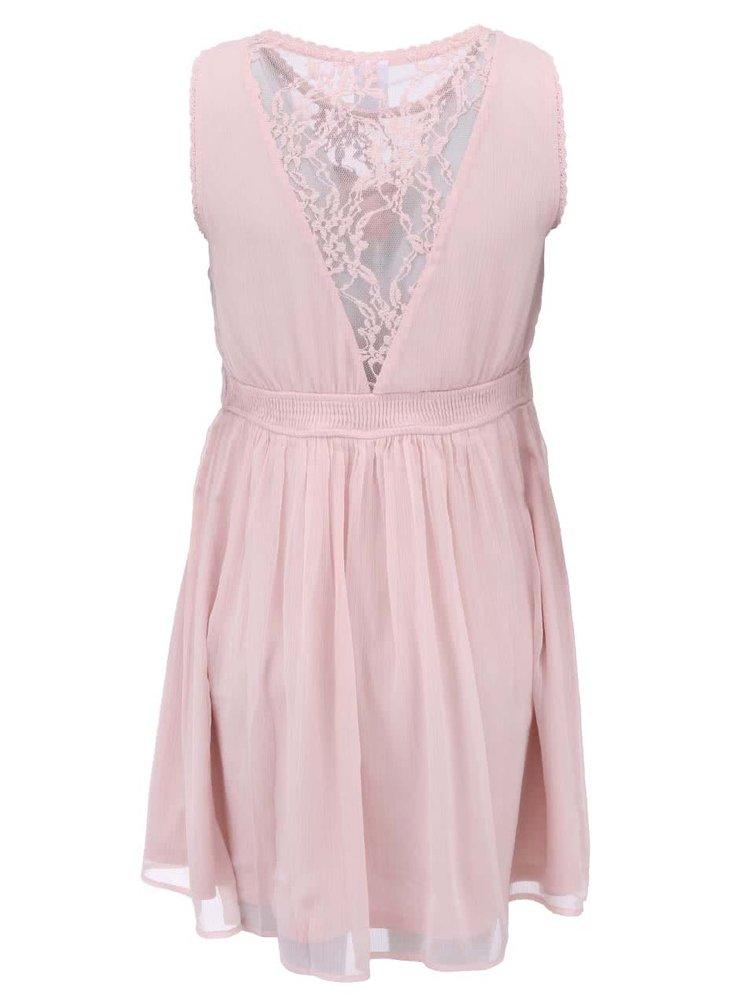 Růžové šaty s krajkou VERO MODA Neja