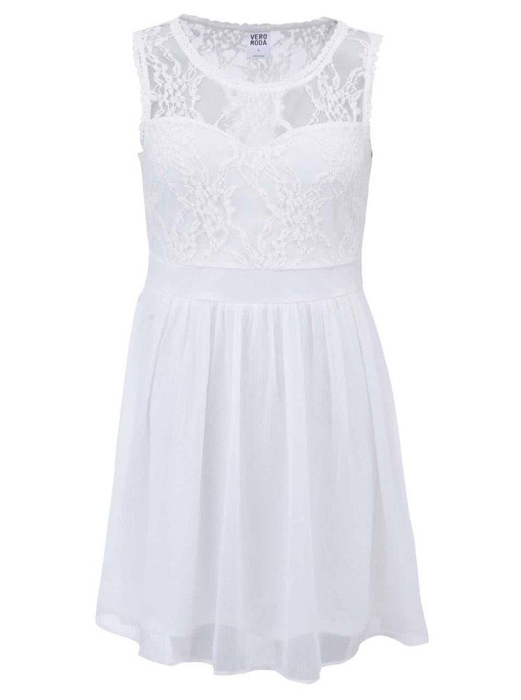 Biele šaty s čipkou VERO MODA Neja