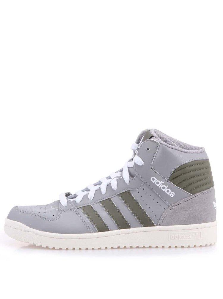Sivé pánske kožené členkové tenisky adidas Original Pro Play