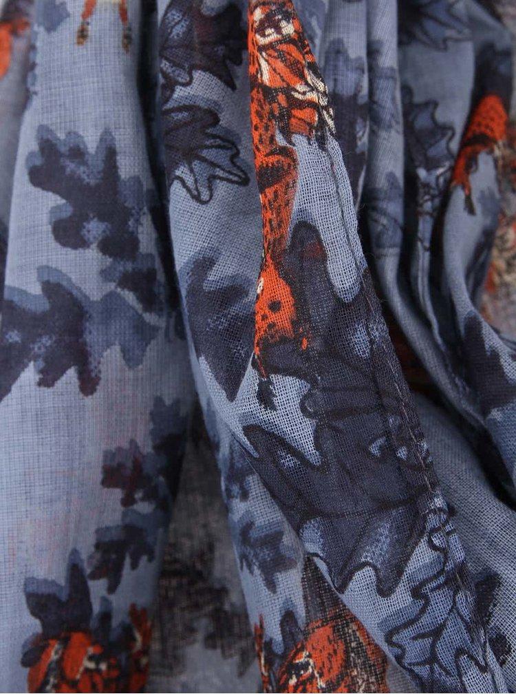 Eșarfă albastră cu imprimeu veverițe Disaster Collective Noun
