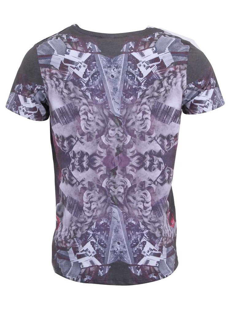 Tricou imprimat Jack & Jones Rob - alb cu violet