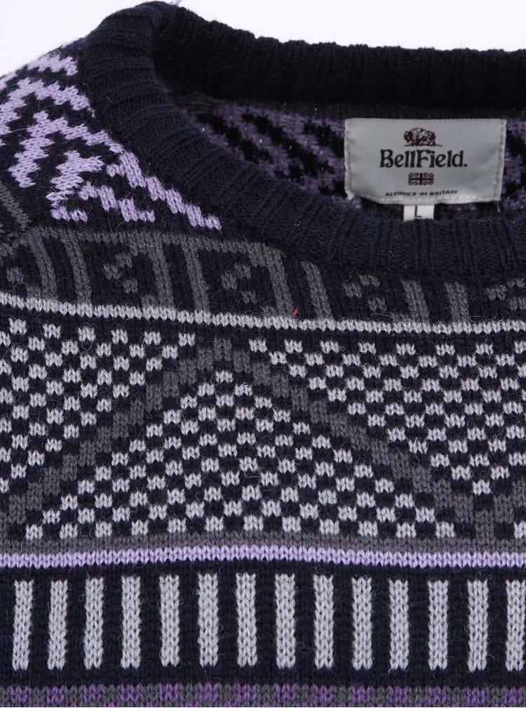 Tmavosivý pánsky vlnený sveter so vzorom Bellfield Nessario
