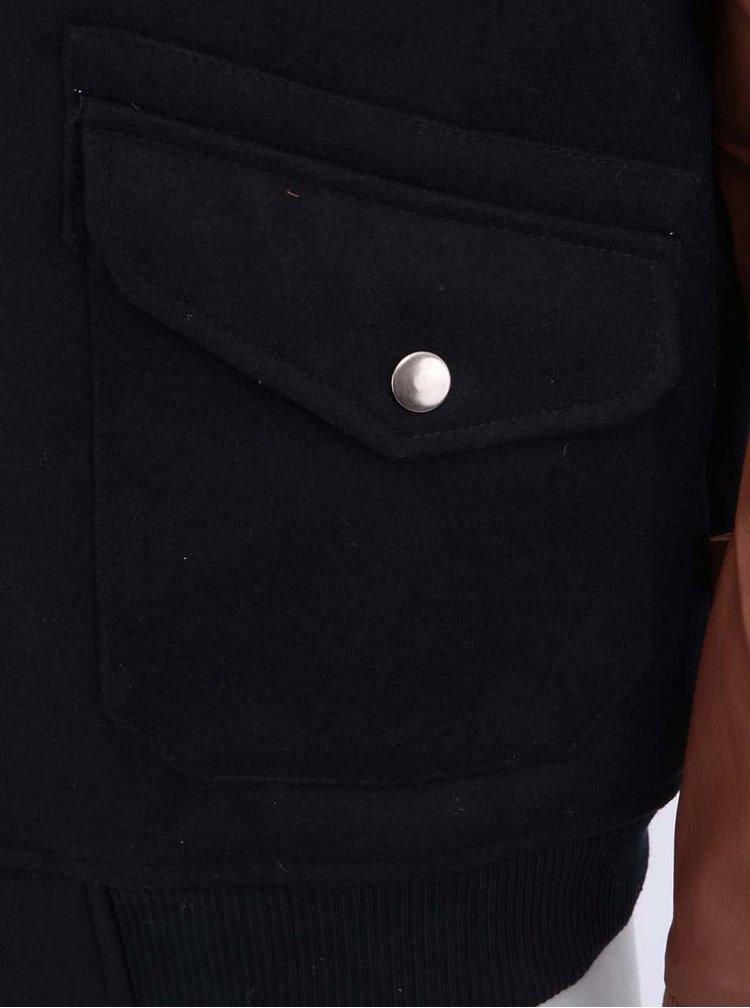 Tmavě modrá pánská bunda s hnědými rukávy Bellfield Wailey